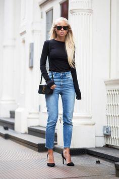 uniform. black turtle neck. high-wasited slim jeans.