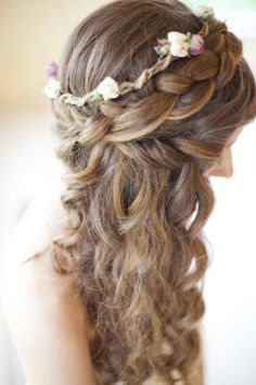 love the braid and the halo with flowers!