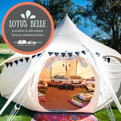As the influence of #glamping spreads out across campgrounds and RV resorts, the need for portable and affordable luxury #camping items has increased as world #travelers want to travel inexpensively, travel light, and travel often without forfeiting modern conveniences. The team over at Lotus Belle has met this growing demand by developing yurt-style tents that are incredibly spacious and portable: http://www.highwaywestvacations.com/portable-and-affordable-luxury-camping-items/.