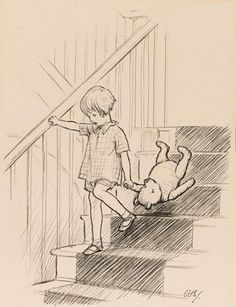 """Here is Edward Bear, coming downstairs now, bump, bump, bump, on the back of his head, behind Christopher Robin"", is the very first depiction of Winnie the Pooh with Christopher Robin. It originates from Milne's 1926 book Winnie the Pooh, and is the original pencil sketch that proved instrumental in making the book a success."