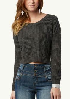 Metallic Crop Waffle Sweater | Sweaters | rue21
