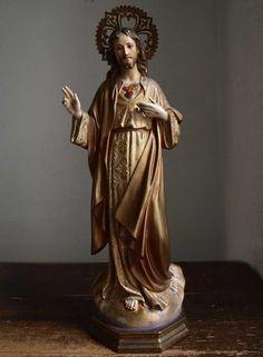 Etsy のSacred Heart of Jesus Christ Statue Sacre Coeur Glass Eye Art Statues 1930s Spain Olot Religious Antique /276(ショップ名:GliciniaANTIQUE)