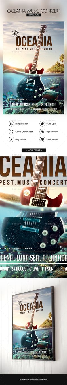 Oceania Music Concert Flyer by bornx Amazing music concert flyer template designed to promote your band concert, music event, or any advertisement need related with mu