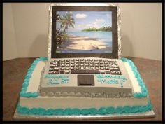 This is my first laptop cake. Bottom layer is a...