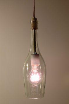 Limited Edition Rose Bottle Custom Pendant Light with Edison Style Bulb