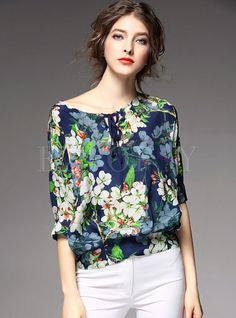 Look at our wide array of females' tops for each occasion.Get set for the latest time of the year using our collection of females' top. Blouse Styles, Blouse Designs, Floral Tops, Floral Prints, Cute Tank Tops, Beautiful Blouses, Loose Tops, Blouse Dress, Elegant Outfit