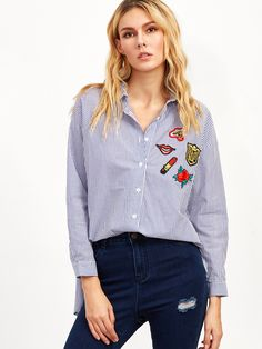 Shop Blue Vertical Striped High Low Embroidered Blouse online. SheIn offers Blue Vertical Striped High Low Embroidered Blouse & more to fit your fashionable needs.