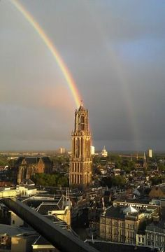 Double rainbow, Dom Tower Utrecht.