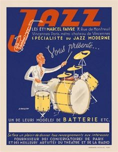 Jazz by Rassiat 1924 France - Beautiful Vintage Poster Reproduction. This vertical french theater exhibition poster features a musician in a white suit playing a yellow drum with a saxophone in the J above him.