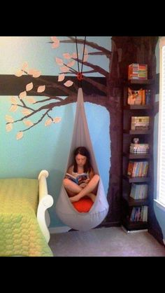 Reading hammock!  look at the book rack in the tree...