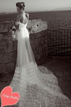 Dresses, Zoog Off Shoulder Guipure Lace Straps Sleeves Back Train Net Wedding Dresses: Zoog Studio 2013 Wedding Dresses