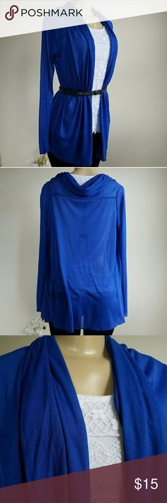 BCBGMAXAZRIA Long Sleeve Cardigan Beautiful semi-sheer  cardigan in dazzling blue. Gathered shawl collar, draped open front. Long sleeves, semi-sheer knit. 65% Polyester 35% Viscose Brand new, however there is a pulled thread at the back of the collar. See the last picture on the top. Price reflected. BCBGMaxAzria Sweaters Cardigans