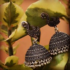 Exclusive oxidized silver jhumkas | Buy Online Silver Jewellery | Elegant Fashion Wear