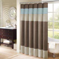 Madison Park Tradewinds Striped Fabric Shower Curtain