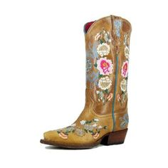 Macie Bean Western Boots Girl Leather Cowboy Floral Rose Garden MK8012