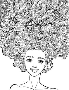 10 Crazy Hair Adult Coloring Pages - Page 9 of 12 | Adult coloring ...