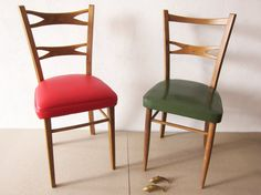 RESTORED Spanish mid-century green chair, Restored vintage chair with original olive green upholstering, Solid teak chair