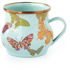 MacKenzie-Childs Butterfly Garden Sky Mug ($44) ❤ liked on Polyvore featuring home, kitchen & dining, drinkware, multi colors, dishwasher safe mugs, mackenzie childs mug, glazed mugs, colorful mugs and handmade mugs