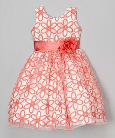 2e707c8bbe1 Kid Fashion Coral   White Flower Overlay Dress - Toddler   Girls. Vestido  InfantilModa ...