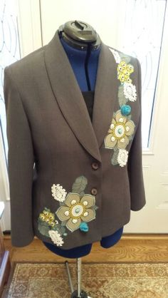 Upcycled Gray Jacket With Flower Applique