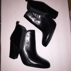 MICHAEL Michael Kors Brandy Bootie Black Leather NWOT Gorgeous Brandy booty by MICHAEL Michael Kors eat your a cushion foot bed full loop at collar leather upper rubber outsole stacked heel twin elastic gore panels for a secure fit. Heel height is approximately 3 1/4 inches. MICHAEL Michael Kors Shoes Heeled Boots