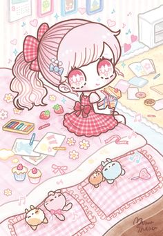 """happy snack ©Shimaminami this child just put me in a trance. Anime Chibi, Kawaii Chibi, Kawaii Art, Kawaii Anime Girl, Anime Art Girl, Kawaii Stuff, Kawaii Illustration, Kawaii Drawings, Cute Drawings"