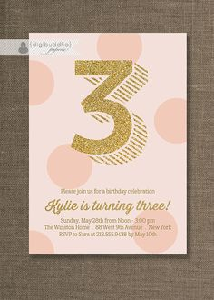 Pink and Gold Birthday Invitation Gold by digibuddhaPaperie, $20.00