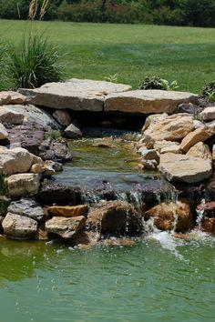 Rock water feature #TopekaLandscape
