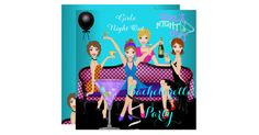 Bachelorette Party Teal Blue Pink Purple Fun Cocktails Drinks. Invitation All Occasions Party Bachelorette Girls Night Out Hens Party. Customize with your own details and age. Template for Sweet 16, 16th, Quinceanera 15th, 18th, 20th, 21st, 30th, 40th, 50th, 60th, 70th, 80th, 90, 100th, Fabulous product for Women, Girls,  Zizzago created this design from Copyright Images from Delightful-Doodles.com. PLEASE NOTE all flat images! They Do NOT have real Glitter, Diamonds Jewels or real Bows!!
