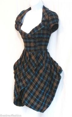 Tartan Bustle Dress Tulip Peplum
