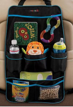 Functional backseat organizer with multiple pockets, mesh pouches, and drink holders. Also helps protect seat backs.