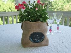 Set of 10 Burlap Bags with Re-Useable Chalkboard Labels for Country Chic Wedding Gift Bags, Party Favors, Centerpiece, Table Numbers