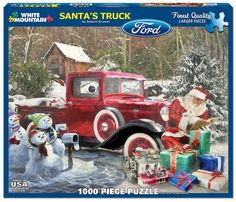 In the 1000 piece jigsaw puzzle, Santa's Truck by White Mountain, a holiday illustration of Santa Claus' red truck parked in a winter wonderland is depicted. Christmas Cars, Merry Christmas To All, Christmas Scenes, Father Christmas, Vintage Christmas Cards, Christmas Pictures, Christmas Time, Christmas Christmas, Christmas Presents