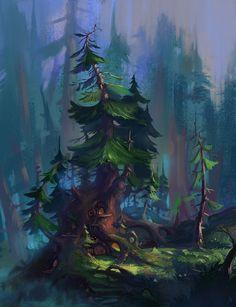 Tree house , Ilia Altunin on ArtStation at https://www.artstation.com/artwork/055X5