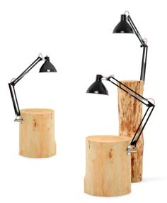 Piantama Side Table with Lamp Black Light Bulbs, Desk Lamp, Table Lamp, All Of The Lights, Petites Tables, Log Furniture, Wooden House, Glass Table, Decoration