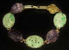 Art Deco Jadeite Jade & Amethyst Bracelet Brass Metal by june2six