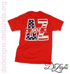 DZ DeZigns Apparel - Red America Themed Pocket T-Shirt!! One of our Delta Zeta favorites!! Red t-shirt with super cute America themed design.
