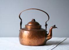 Old Copper Tea Pots   antique Skultuna swedish copper metal tea kettle by ModishVintage