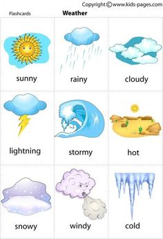 Free printable weather flashcards