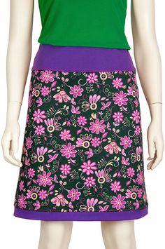 A lijn rok paarse bloemen trevira jaren 60, Pop Rok