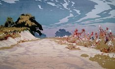 ✨ Oscar Droege (1898-1983) - Dünenweg mit Blumen, Farb-Holzschnitt, 24,5 x 29,5 cm ::: Dune Path with Flowers, Colour Woodcut