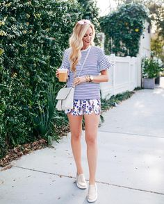 """Sharing my love for spring pattern mixing #ontheblog today with the cutest fluted sleeves under $100 these pink scalloped shorts! (I mean stripes are a neutral right? ) See this look with @draperjames on apinchoflovely.com get the links instantly by clicking the link in my bio! Ps. Also linking to more slip-on sneaker options and some amaze pink sunnies for only $55! 