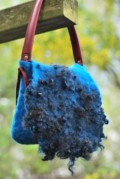 Beautiful hand felted bag with Wensleydale curls and leather strap