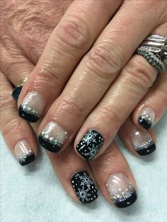 Winter Snowflake Black French Stamped Gel Nails