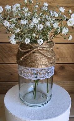 10 x Glass Jars Vintage Vases Wedding Centrepiece Shabby Chic Hessian Lace Twine #shabbychicboda