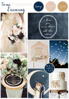 Some Enchanted Evening - An Indigo, Blush, and Gold wedding inspiration board with starry details -Possible wedding colors? Blush Wedding Colors, Blue And Blush Wedding, Blush And Gold, Wedding Color Schemes, Colour Schemes, Blush Pink, Indigo Wedding, Rose Gold, Purple Wedding