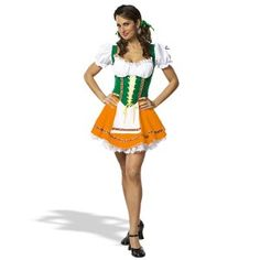 This Sexy Beer Girl Costume should be worn any place that beer is served. The cute gold, green and white dress has a frilly white petticoat to make it stand out.