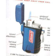 Coleman Stingray Windproof Lighter - Blue by Coleman. $19.99. Fuel Level Viewing Gauge. Oversized Flame Adjustment Wheel. Weather Resistant Locking Cap. Solid Metal Body. Windproof Lighter. Windproof LighterLanyard Attachment On Side For Easy Carrying Ideal For Hiking, Boating, Camping Butane Refillable Fuel-Level Monitoring GaugeLocking Cap with Water-Resistant SealOversized Flame Adjustment Knob At Bottom Of LighterBlister Packaging. Save 20%!