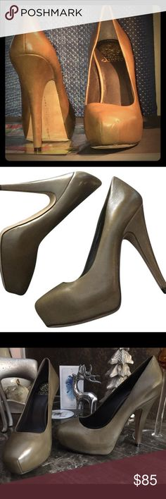 Vince Camuto Pumps NWT Sz 8 Olive VC Signature Leather Pumps Sz 8 Brand New - NWOT Classy with an edge Leather pumps - Vince Camuto Signature 4 in heels - the item has remained in the box but has no tags attached to it. Vince Camuto Shoes