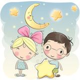Вектор: Girl and Boy with a star